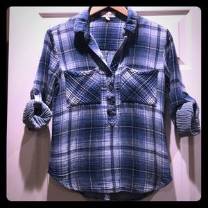 Anthro Cloth & Stone Plaid Pullover/Button-down